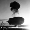 Nuclear testing with barrage balloon.